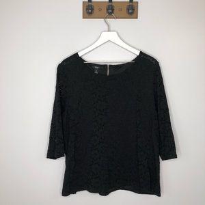 Alfani Black Lace 3/4 Sleeve Blouse